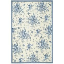 Safavieh Hand-hooked Garden Ivory/ Blue Wool Rug - 7'6 x 9'9 - Thumbnail 0