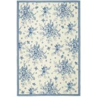 Safavieh Hand-hooked Garden Ivory/ Blue Wool Rug (7'6 x 9'9)