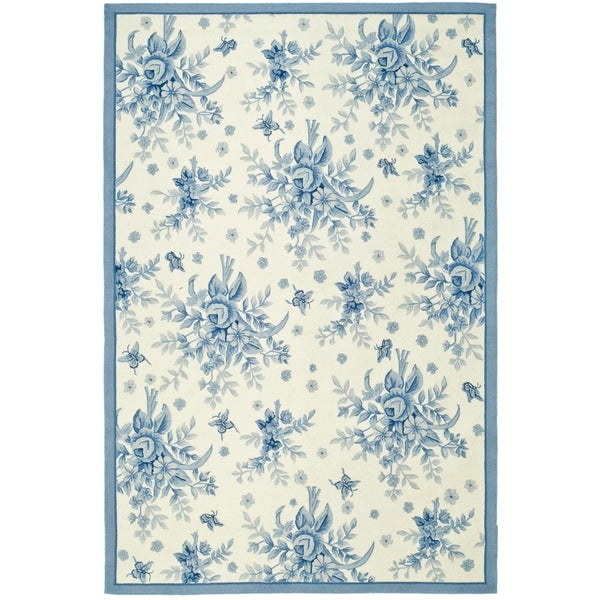 "Safavieh Hand-hooked Garden Ivory/ Blue Wool Rug - 7'-9"" x 9'-9"""