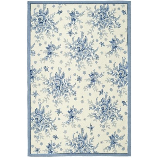 Safavieh Hand-hooked Garden Ivory/ Blue Wool Rug - 8'9 X 11'9