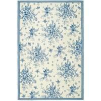 "Safavieh Hand-hooked Garden Ivory/ Blue Wool Rug - 8'-9"" x 11'-9"""