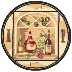 Safavieh Hand-hooked Winery Gold/ Multi Wool Rug - 4' x 4' Round