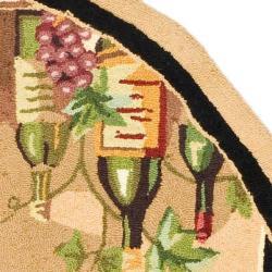 Safavieh Hand-hooked Winery Black/ Multi Wool Rug (4'6 x 6'6 Oval) - Thumbnail 1