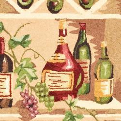 Safavieh Hand-hooked Winery Black/ Multi Wool Rug (4'6 x 6'6 Oval) - Thumbnail 2