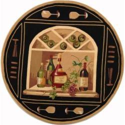 Safavieh Hand-hooked Winery Black/ Multi Wool Rug (4' Round)