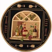 Safavieh Hand-hooked Winery Black/ Multi Wool Rug - 4' x 4' Round