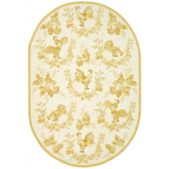 Safavieh Hand-hooked Hens Ivory/ Gold Wool Rug (7'6 x 9'6 Oval)