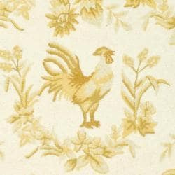 Safavieh Hand-hooked Hens Ivory/ Gold Wool Rug (7'6 x 9'6 Oval) - Thumbnail 2