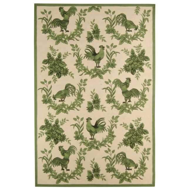 Safavieh Hand-hooked Hens Ivory/ Green Wool Rug - 8'9 X 11'9