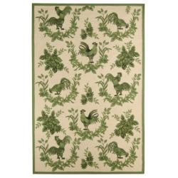 Safavieh Hand-hooked Hens Ivory/ Green Wool Rug - 8'9 X 11'9 - Thumbnail 0