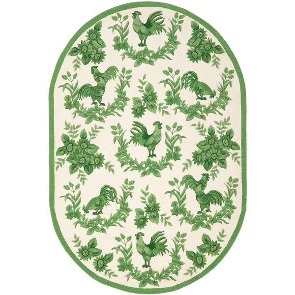 b9c2dd552 Shop Safavieh Hand-hooked Hens Ivory/ Green Wool Rug - 4'-6