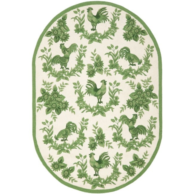 Safavieh Hand-hooked Hens Ivory/ Green Wool Rug (7'6 x 9'6 Oval)