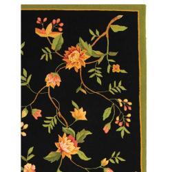 Safavieh Hand-hooked Garden Black Wool Rug (7'6 x 9'9)