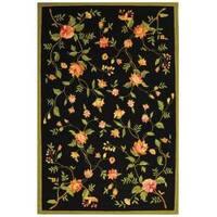 Safavieh Hand-hooked Garden Black Wool Rug - 7'6 x 9'9