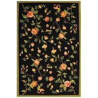 "Safavieh Hand-hooked Garden Black Wool Rug - 7'-9"" x 9'-9"""