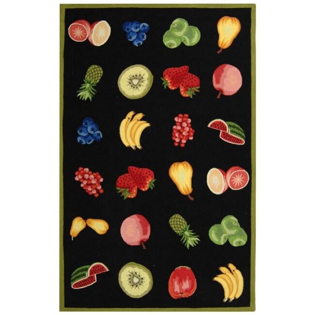 Safavieh Hand-hooked Chelsea Fruits Black Wool Rug - 8'9 X 11'9