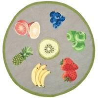 Safavieh Hand-hooked Chelsea Fruits Grey Wool Rug - 4' x 4' Round
