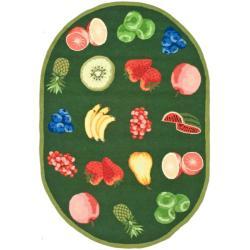 Safavieh Hand-hooked Chelsea Fruits Green Wool Rug (4'6 x 6'6 Oval)