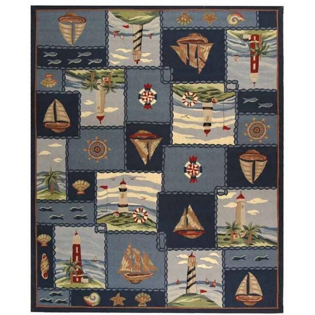 Safavieh Hand-hooked Nautical Blue Wool Rug - 7'6 x 9'9