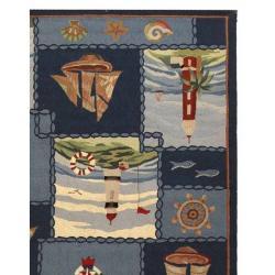 Safavieh Hand-hooked Nautical Blue Wool Rug (7'6 x 9'9)
