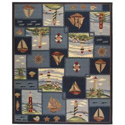 Safavieh Hand-hooked Nautical Blue Wool Rug - 7'6 x 9'9 - Thumbnail 0