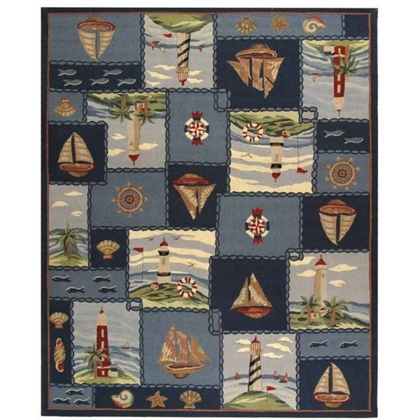 "Safavieh Hand-hooked Nautical Blue Wool Rug - 7'9"" x 9'9"""