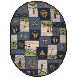 Safavieh Hand-hooked Nautical Blue Wool Rug (7'6 x 9'6 Oval)