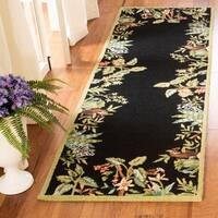 Safavieh Hand-hooked Chelsea Jungle Black Wool Rug (2'6 x 10') - 2'6 x 10'