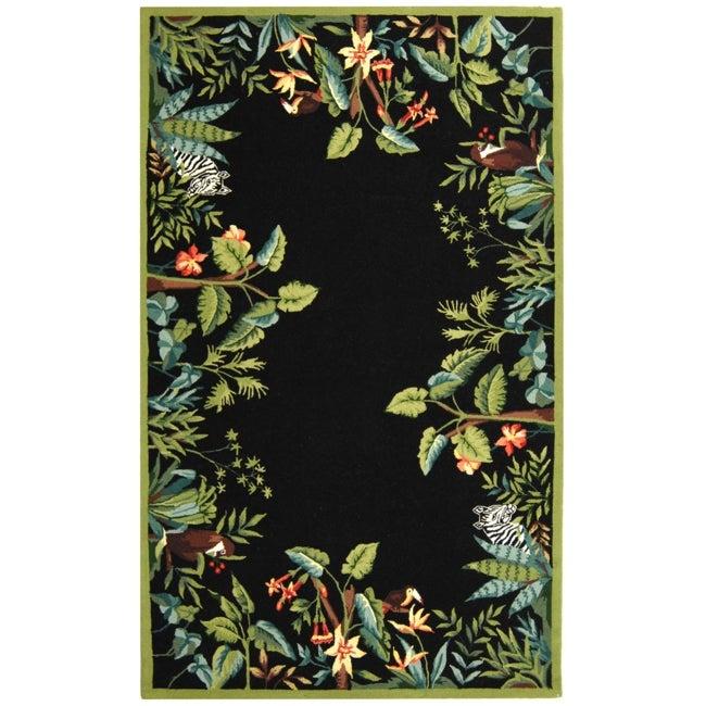 Safavieh Large Hand-Hooked Chelsea Jungle Black Wool Rug - 8'9' x 11'9'