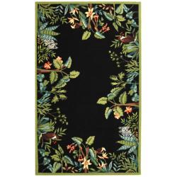 Safavieh Large Hand-Hooked Chelsea Jungle Black Wool Rug - 8'9' x 11'9' - Thumbnail 0