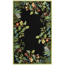"Safavieh Large Hand-Hooked Chelsea Jungle Black Wool Rug (8'9"" x 11'9"")"
