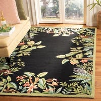 "Safavieh Large Hand-Hooked Chelsea Jungle Black Wool Rug - 8'9"" x 11'9"""