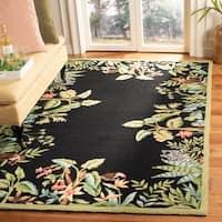 "Safavieh Large Hand-Hooked Chelsea Jungle Black Wool Rug - 8'-9"" x 11'-9"""