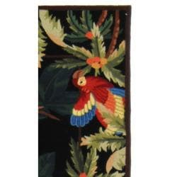 Safavieh Hand-hooked Parrots Black Wool Rug (2'6 x 6') - Thumbnail 1
