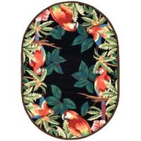 Safavieh Hand-hooked Parrots Black Wool Rug (4'6 x 6'6 Oval) - 4'6' x 6'6 oval
