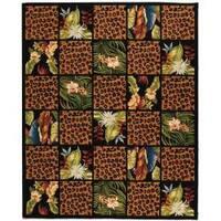 Safavieh Hand-hooked Chelsea Jungle Black Wool Rug - 8'9 X 11'9