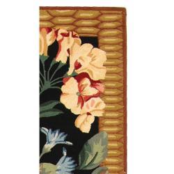 Safavieh Hand-hooked Chelsea Botanical Black Wool Rug (2'6 x 12') - Thumbnail 1
