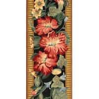 Safavieh Hand-hooked Chelsea Botanical Black Wool Rug - 2'6 x 8'