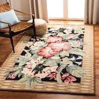 Safavieh Hand-hooked Chelsea Botanical Black Wool Rug - 4' x 4' Round