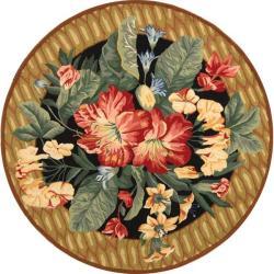 Safavieh Hand-hooked Chelsea Botanical Black Wool Rug (8' Round)