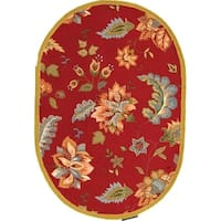 "Safavieh Hand-hooked Botanical Red Wool Rug - 7'6"" x 9'6"" oval"