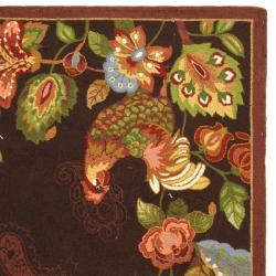 Safavieh Hand-hooked Chelsea Roosters Maroon Wool Rug (3'9 x 5'9) - Thumbnail 1