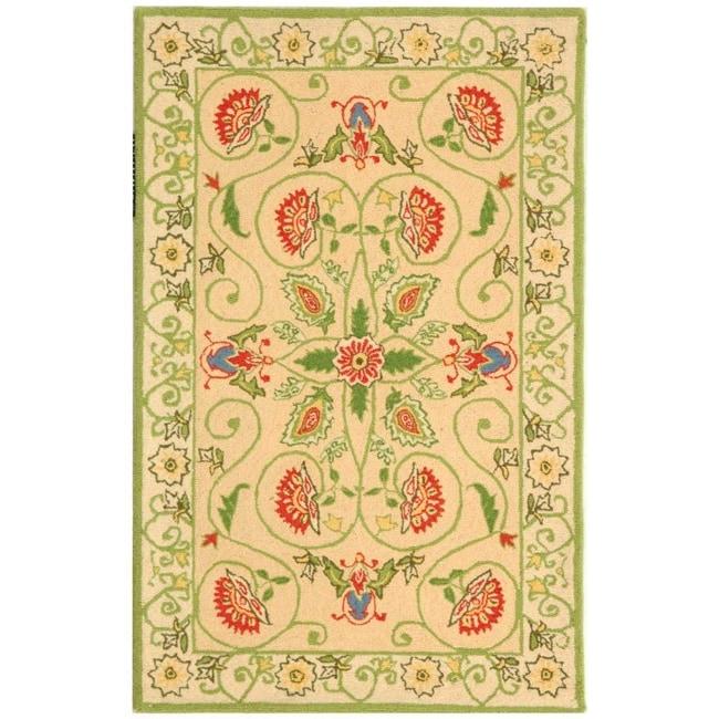 Safavieh Hand-hooked Bedford Beige/ Green Wool Rug (2'9 x 4'9)