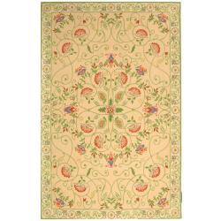 Safavieh Hand-hooked Bedford Beige/ Green Wool Rug (6' x 9')