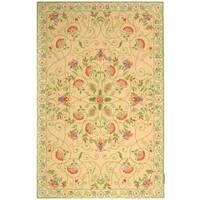 Safavieh Hand-hooked Bedford Beige/ Green Wool Rug - 6' x 9'