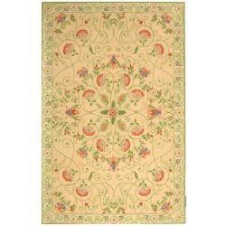 Safavieh Hand-hooked Bedford Beige/ Green Wool Rug - 7'6 x 9'9 - Thumbnail 0