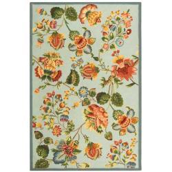 Safavieh Hand-hooked Chelsea Eden Light Blue Wool Rug (6' x 9')