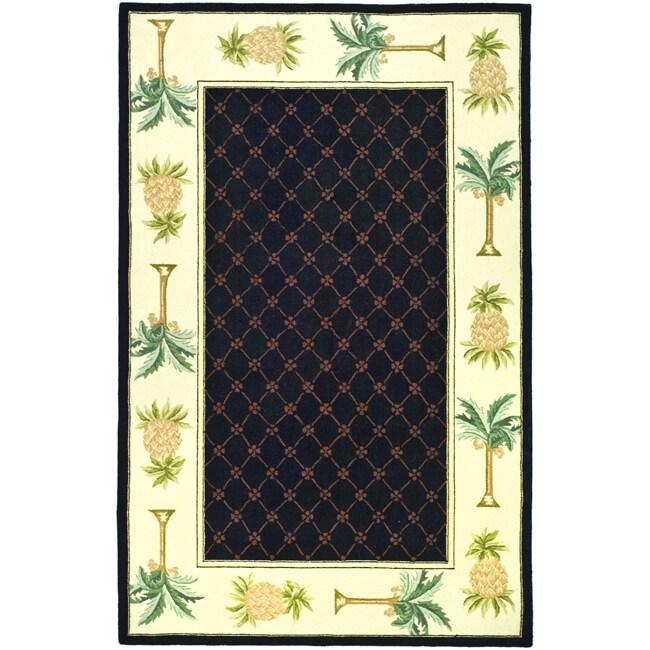 Safavieh Hand-hooked Pineapples Black Wool Rug (3'9 x 5'9...