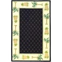 Safavieh Hand-hooked Pineapples Black Wool Rug - 3'9 x 5'9