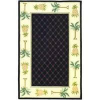 Safavieh Hand-hooked Pineapples Black Wool Rug - 5'3 x 8'3